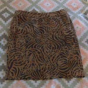 Banana Republic Size 0 Brown & Tan Printed Skirt